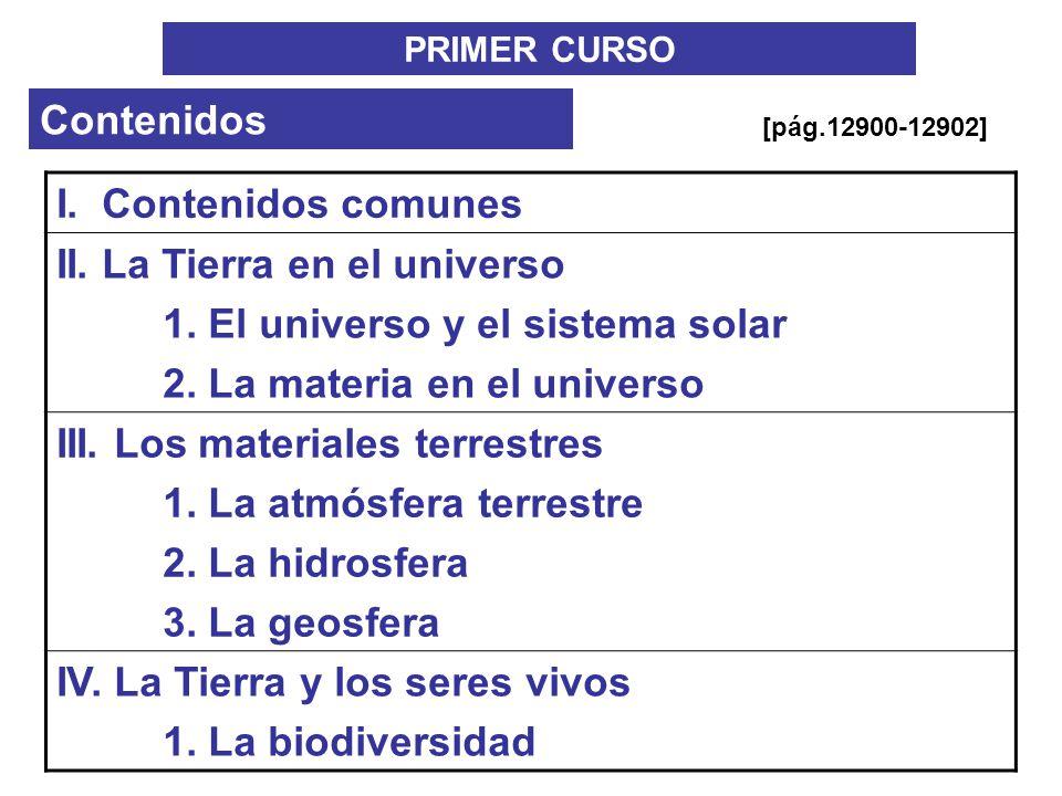 PRIMER CURSO Contenidos I. Contenidos comunes II. La Tierra en el universo 1. El universo y el sistema solar 2. La materia en el universo III. Los mat