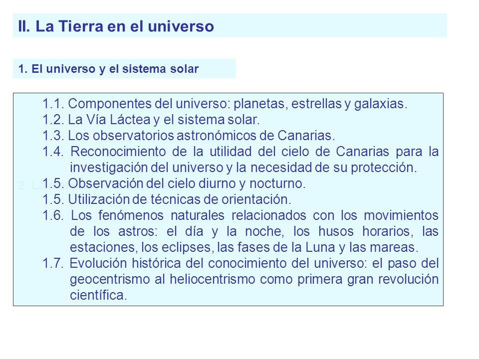 II. La Tierra en el universo 1. El universo y el sistema solar 2. La materia en el Universo 1.1. Componentes del universo: planetas, estrellas y galax
