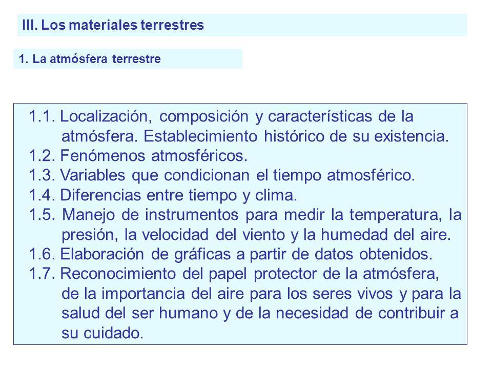 III. Los materiales terrestres 1. La atmósfera terrestre 1.1. Localización, composición y características de la atmósfera. Establecimiento histórico d