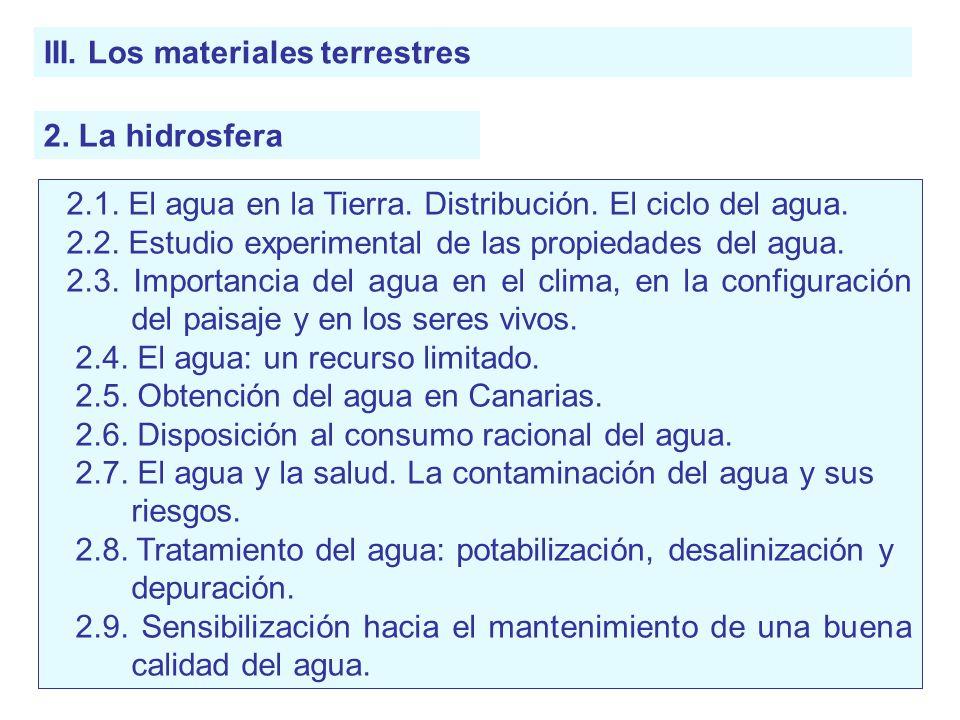 III. Los materiales terrestres 2. La hidrosfera 2.1. El agua en la Tierra. Distribución. El ciclo del agua. 2.2. Estudio experimental de las propiedad