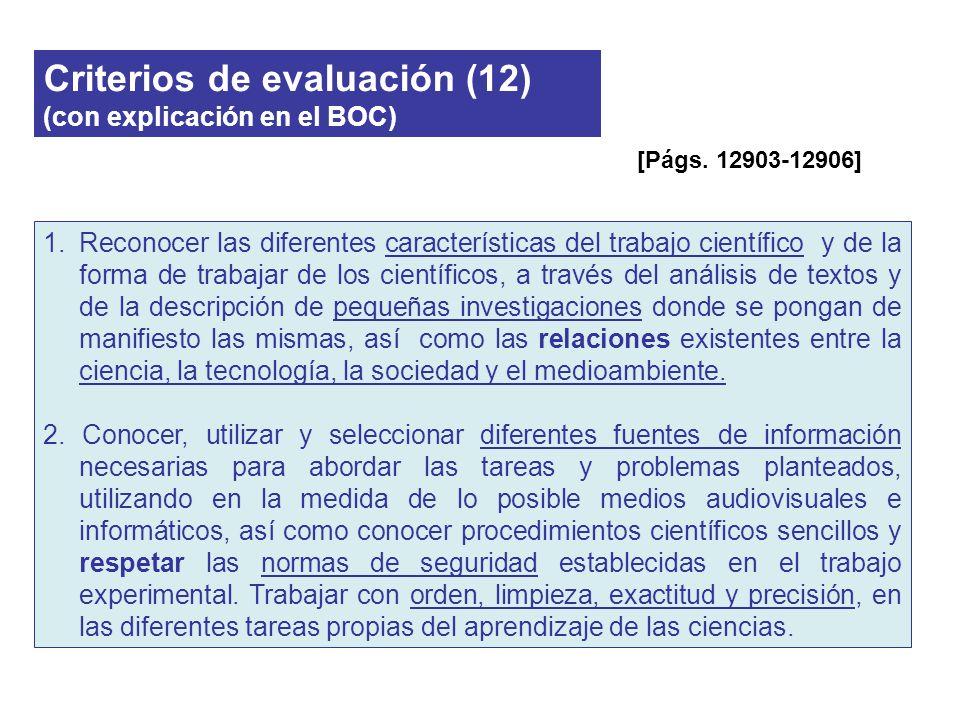 Criterios de evaluación (12) (con explicación en el BOC) 1.Reconocer las diferentes características del trabajo científico y de la forma de trabajar d