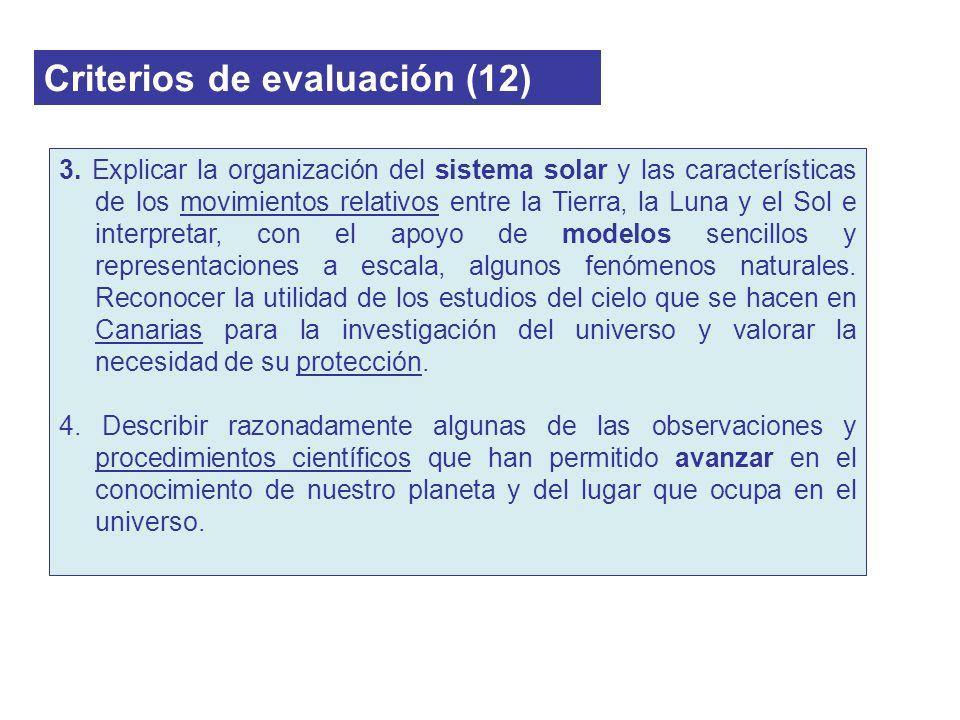 Criterios de evaluación (12) 3. Explicar la organización del sistema solar y las características de los movimientos relativos entre la Tierra, la Luna