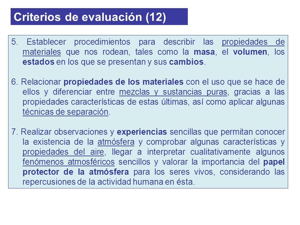 Criterios de evaluación (12) 5. Establecer procedimientos para describir las propiedades de materiales que nos rodean, tales como la masa, el volumen,