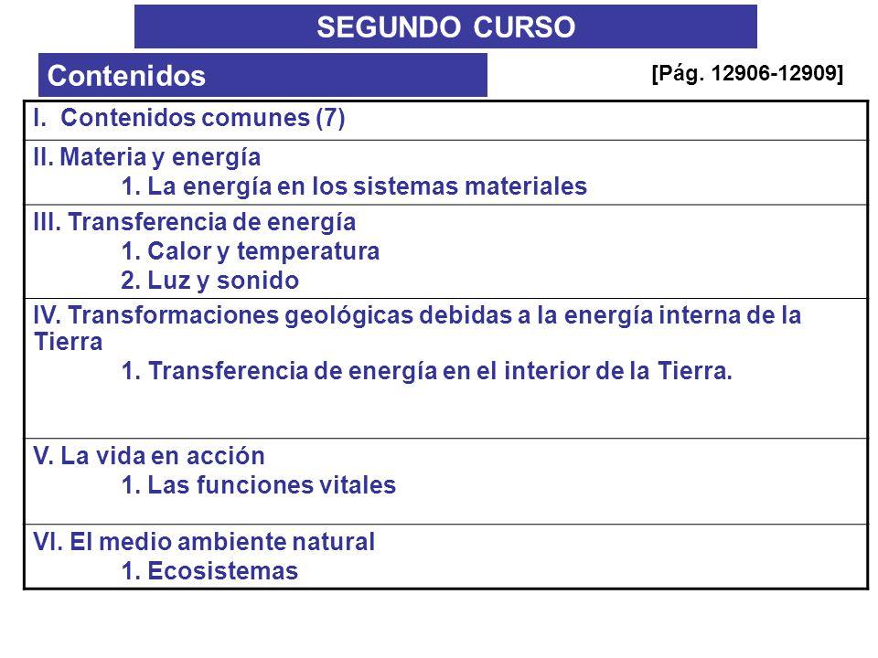 SEGUNDO CURSO Contenidos I. Contenidos comunes (7) II. Materia y energía 1. La energía en los sistemas materiales III. Transferencia de energía 1. Cal