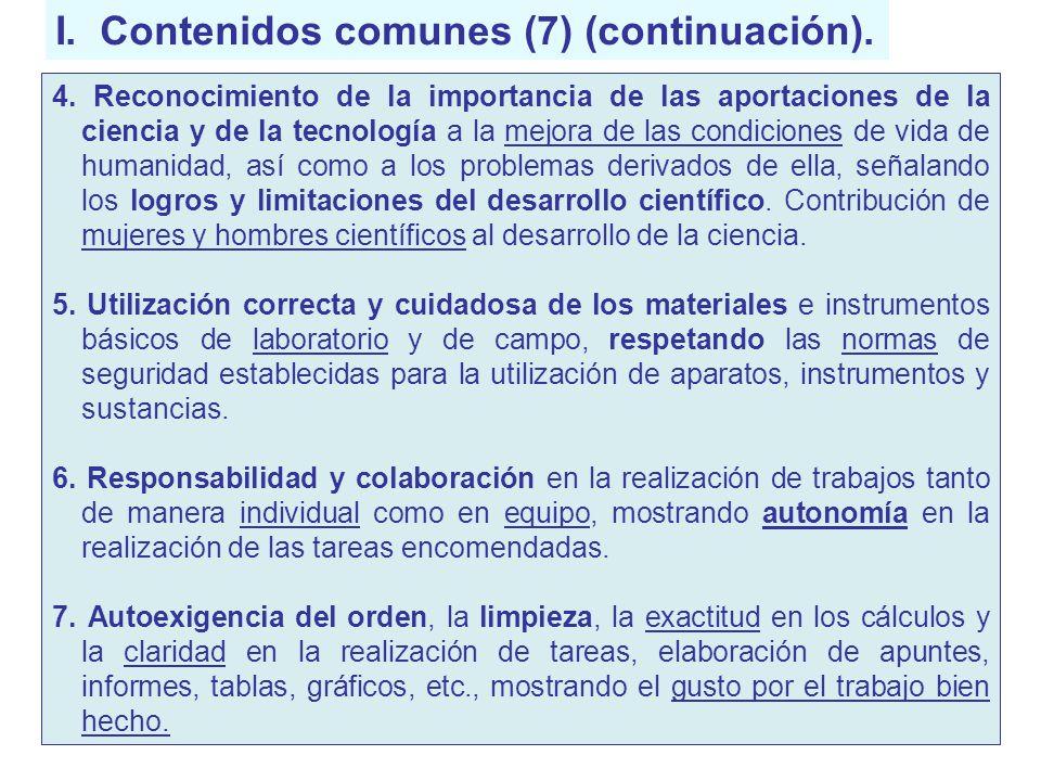 I. Contenidos comunes (7) (continuación). 4. Reconocimiento de la importancia de las aportaciones de la ciencia y de la tecnología a la mejora de las
