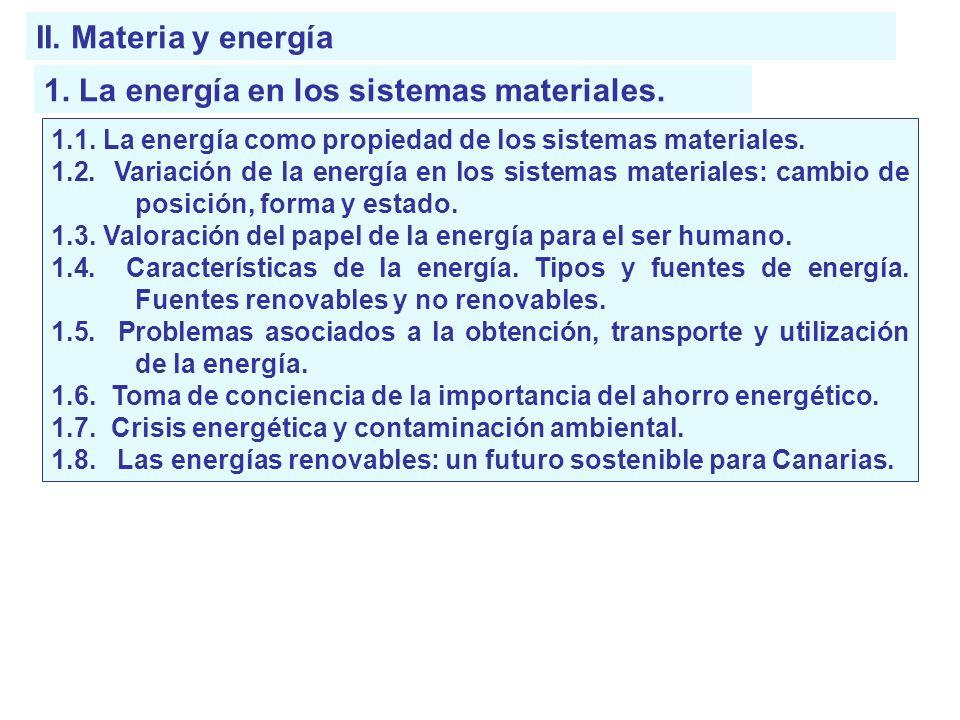 II. Materia y energía 1. La energía en los sistemas materiales. 1.1. La energía como propiedad de los sistemas materiales. 1.2. Variación de la energí