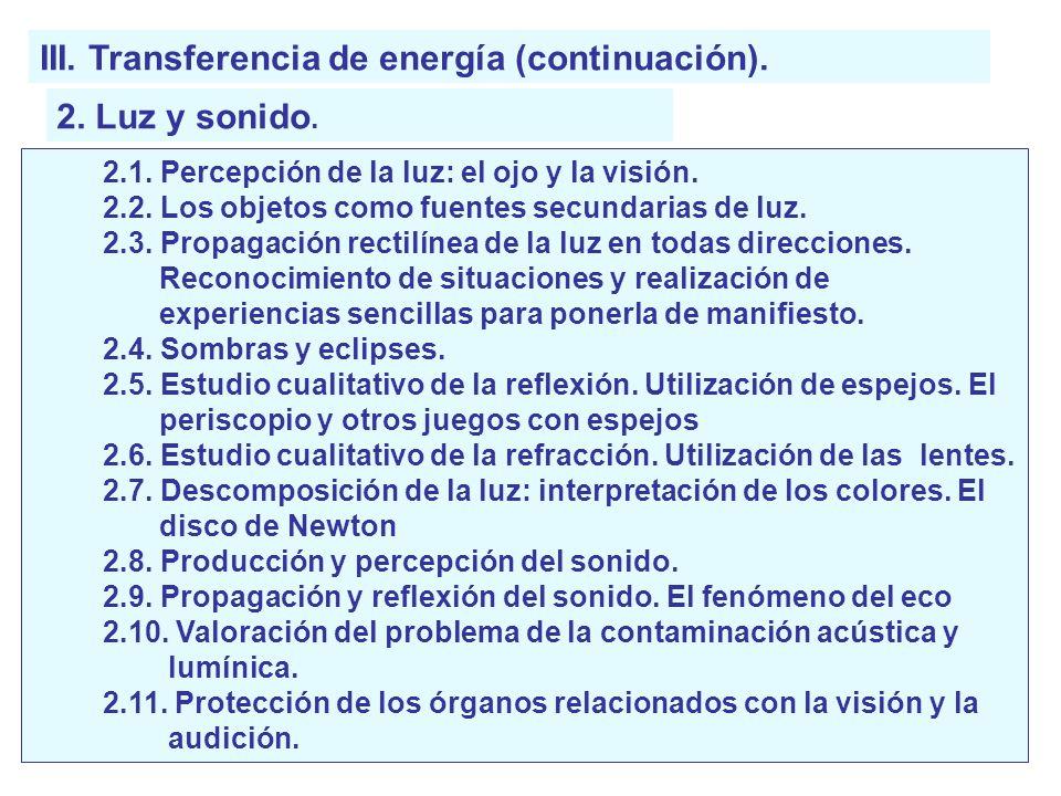 III. Transferencia de energía (continuación). 2. Luz y sonido. 2.1. Percepción de la luz: el ojo y la visión. 2.2. Los objetos como fuentes secundaria