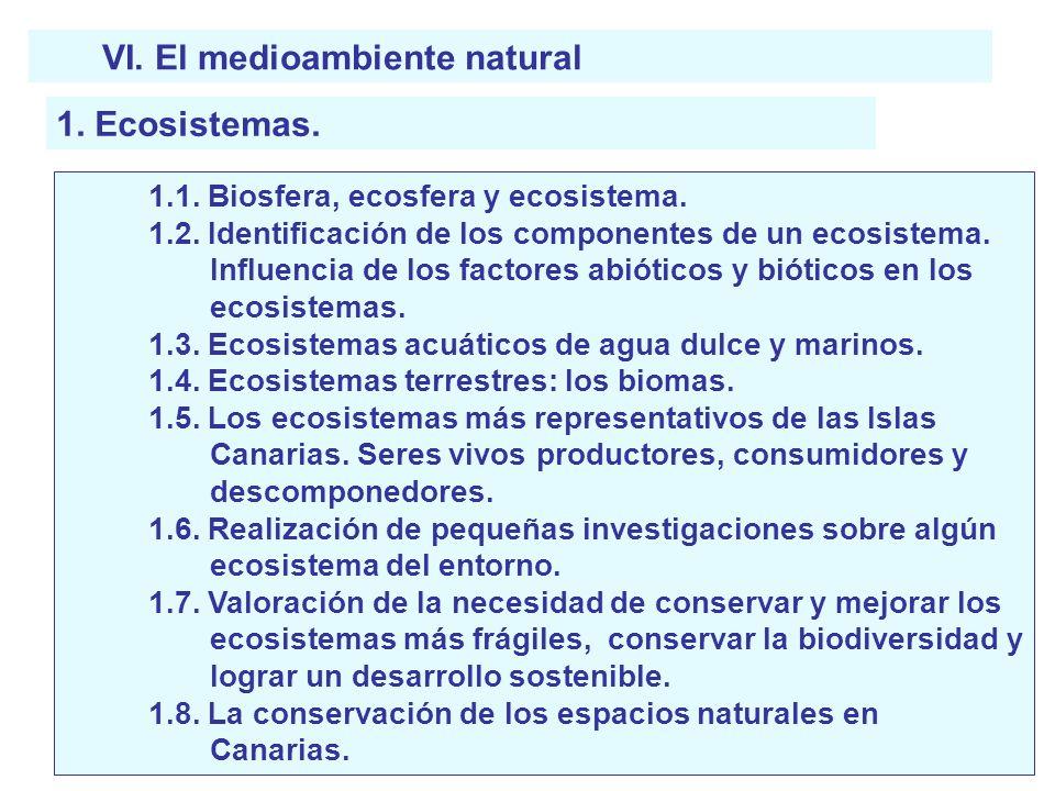 VI. El medioambiente natural 1. Ecosistemas. 1.1. Biosfera, ecosfera y ecosistema. 1.2. Identificación de los componentes de un ecosistema. Influencia