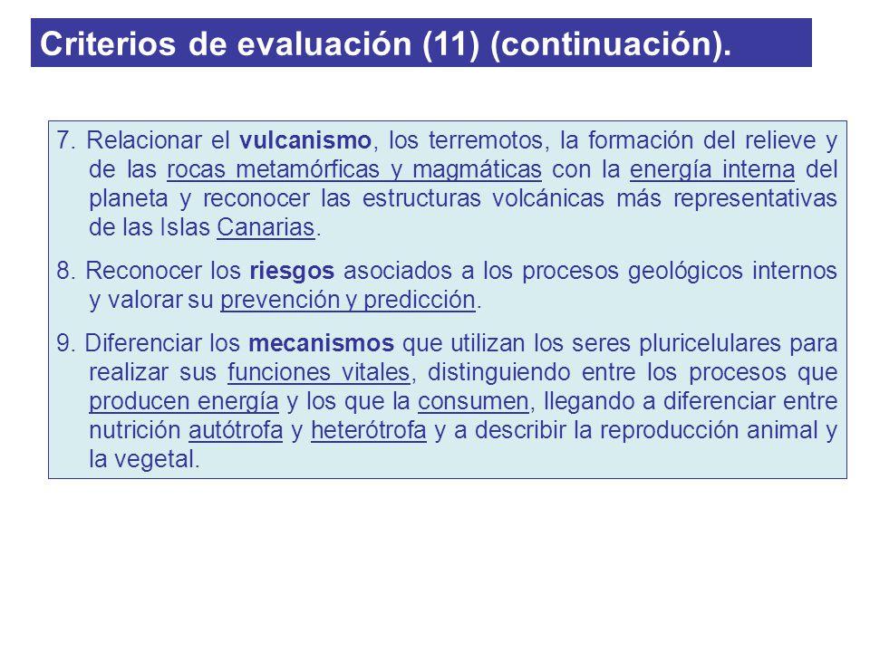 Criterios de evaluación (11) (continuación). 7. Relacionar el vulcanismo, los terremotos, la formación del relieve y de las rocas metamórficas y magmá