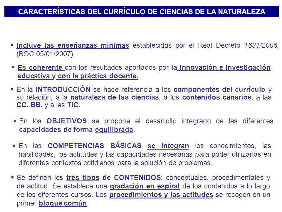 CARACTERÍSTICAS DEL CURRÍCULO DE CIENCIAS DE LA NATURALEZA En la INTRODUCCIÓN se hace referencia a los componentes del currículo y su relación, a la n
