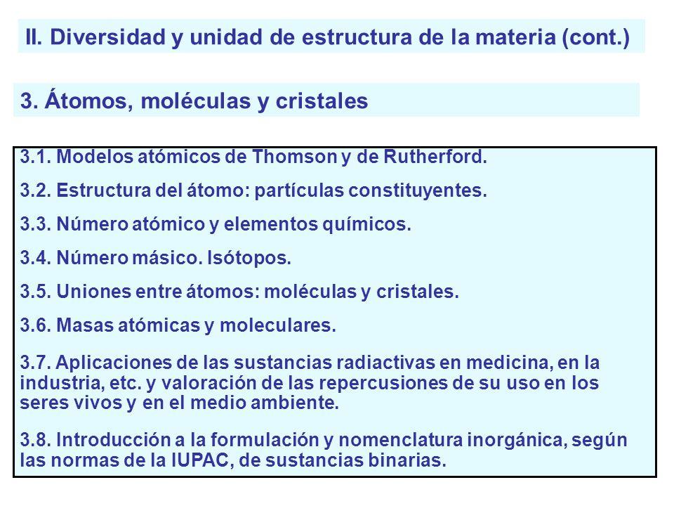 II. Diversidad y unidad de estructura de la materia (cont.) 3. Átomos, moléculas y cristales 3.1. Modelos atómicos de Thomson y de Rutherford. 3.2. Es