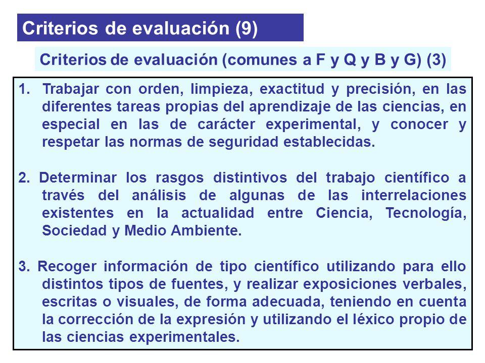 Criterios de evaluación (9) 1.Trabajar con orden, limpieza, exactitud y precisión, en las diferentes tareas propias del aprendizaje de las ciencias, e