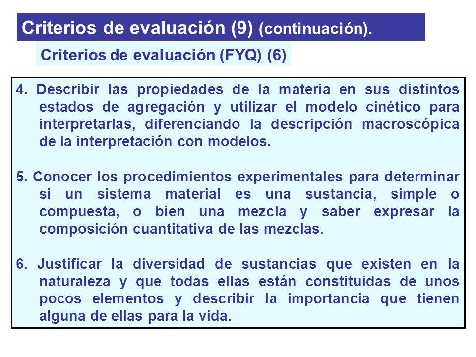 Criterios de evaluación (9) (continuación). 4. Describir las propiedades de la materia en sus distintos estados de agregación y utilizar el modelo cin