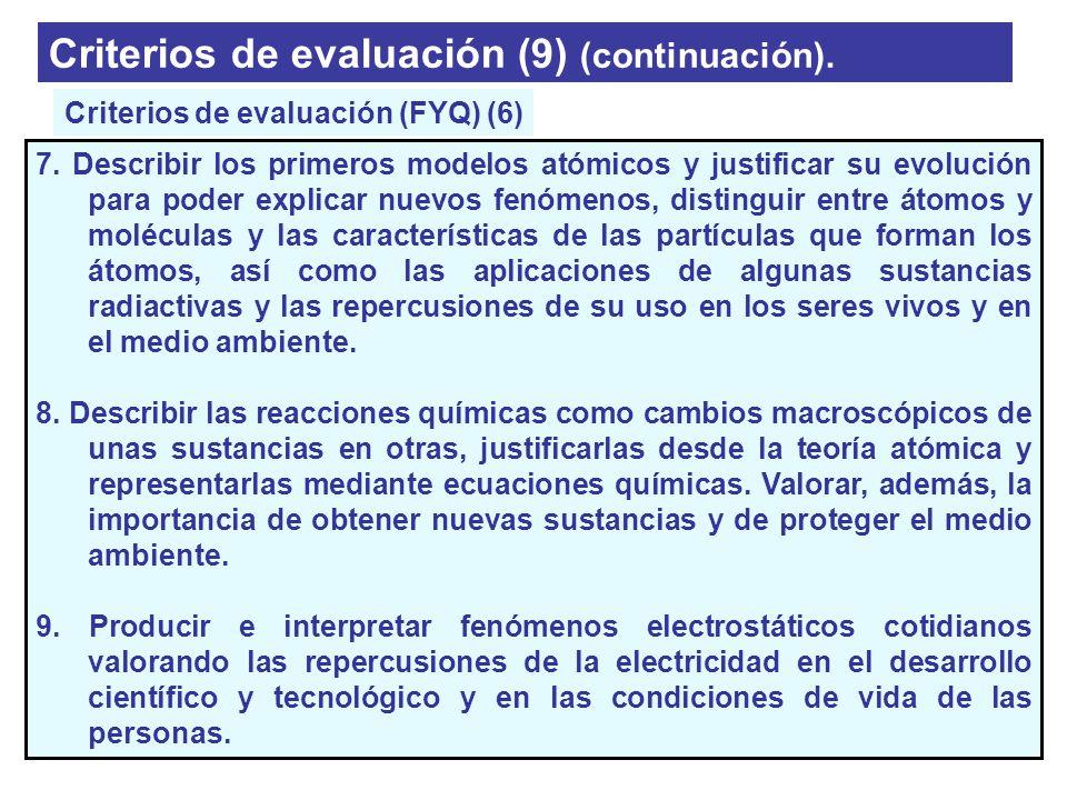 Criterios de evaluación (9) (continuación). 7. Describir los primeros modelos atómicos y justificar su evolución para poder explicar nuevos fenómenos,