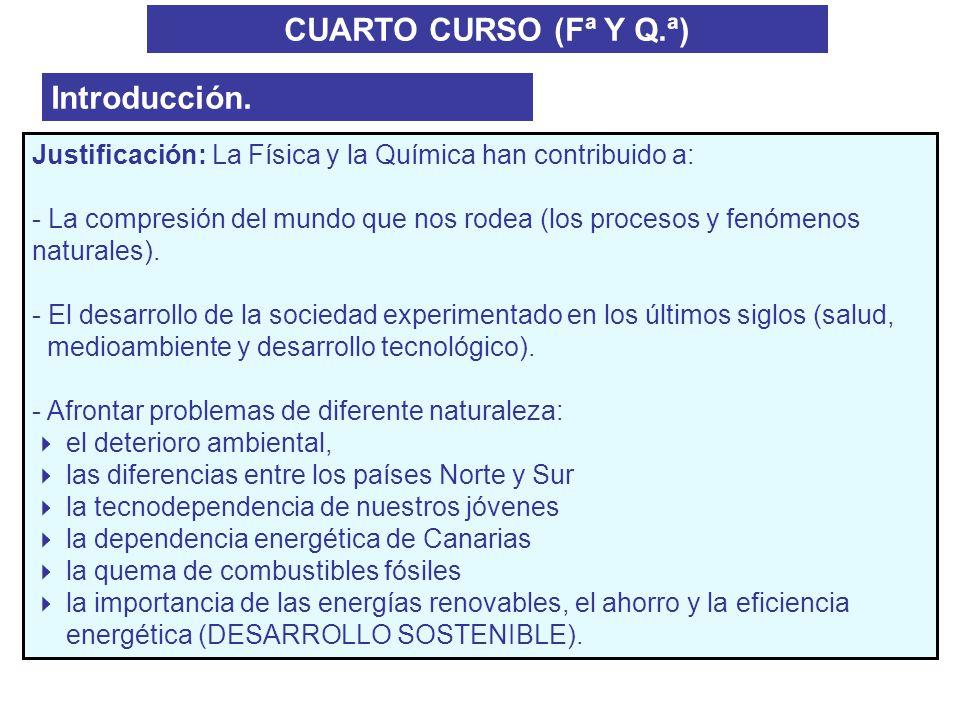 CUARTO CURSO (Fª Y Q.ª) Introducción. Justificación: La Física y la Química han contribuido a: - La compresión del mundo que nos rodea (los procesos y