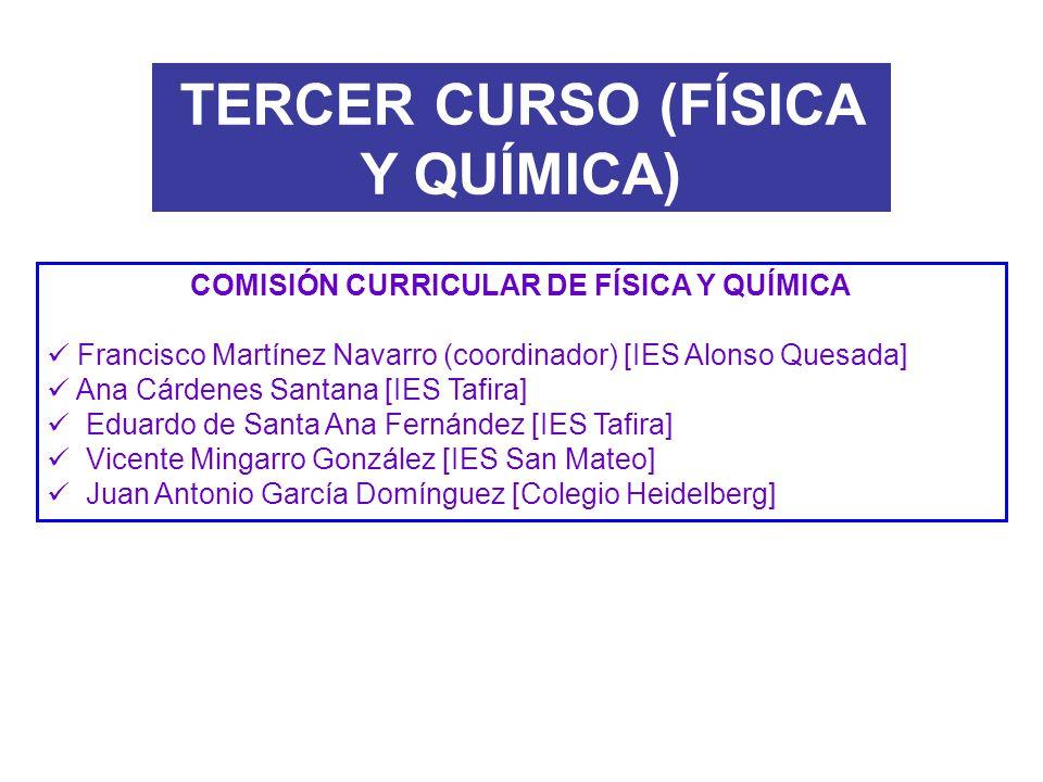 COMISIÓN CURRICULAR DE FÍSICA Y QUÍMICA Francisco Martínez Navarro (coordinador) [IES Alonso Quesada] Ana Cárdenes Santana [IES Tafira] Eduardo de San