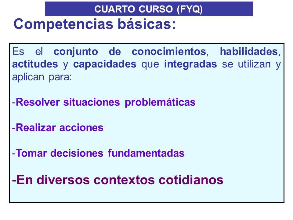 CUARTO CURSO (FYQ) Es el conjunto de conocimientos, habilidades, actitudes y capacidades que integradas se utilizan y aplican para: -Resolver situacio