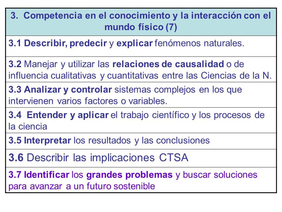 3. Competencia en el conocimiento y la interacción con el mundo físico (7) 3.1 Describir, predecir y explicar fenómenos naturales. 3.2 Manejar y utili