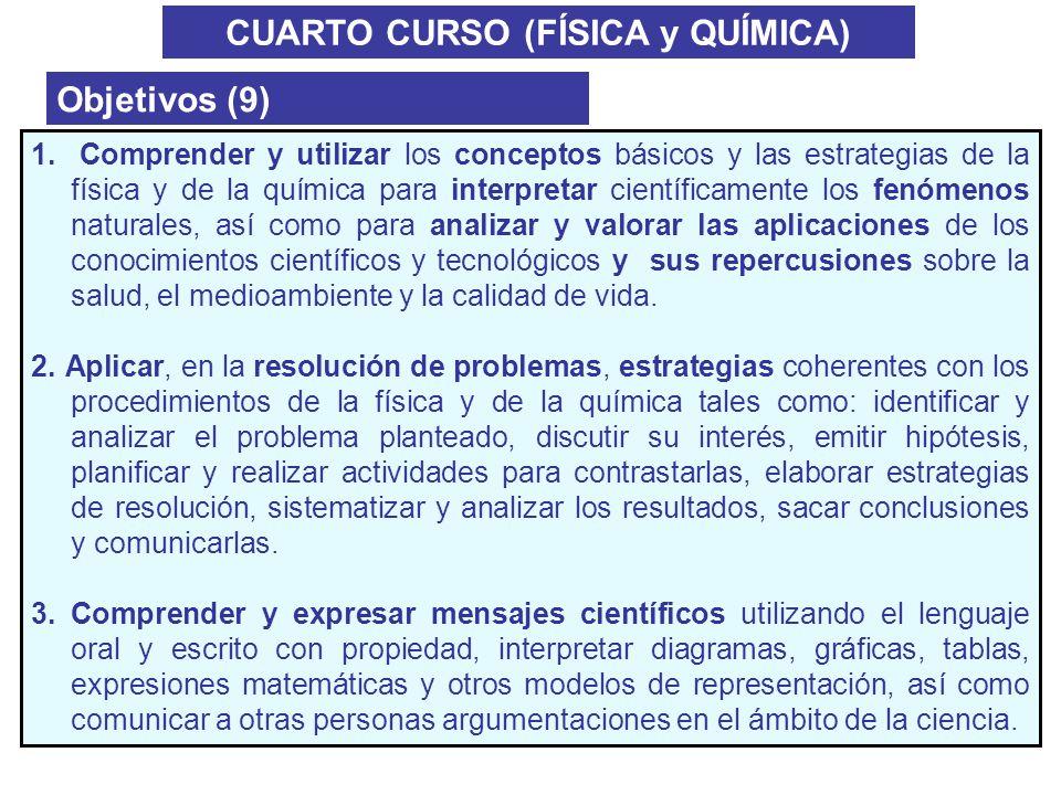 CUARTO CURSO (FÍSICA y QUÍMICA) Objetivos (9) 1. Comprender y utilizar los conceptos básicos y las estrategias de la física y de la química para inter