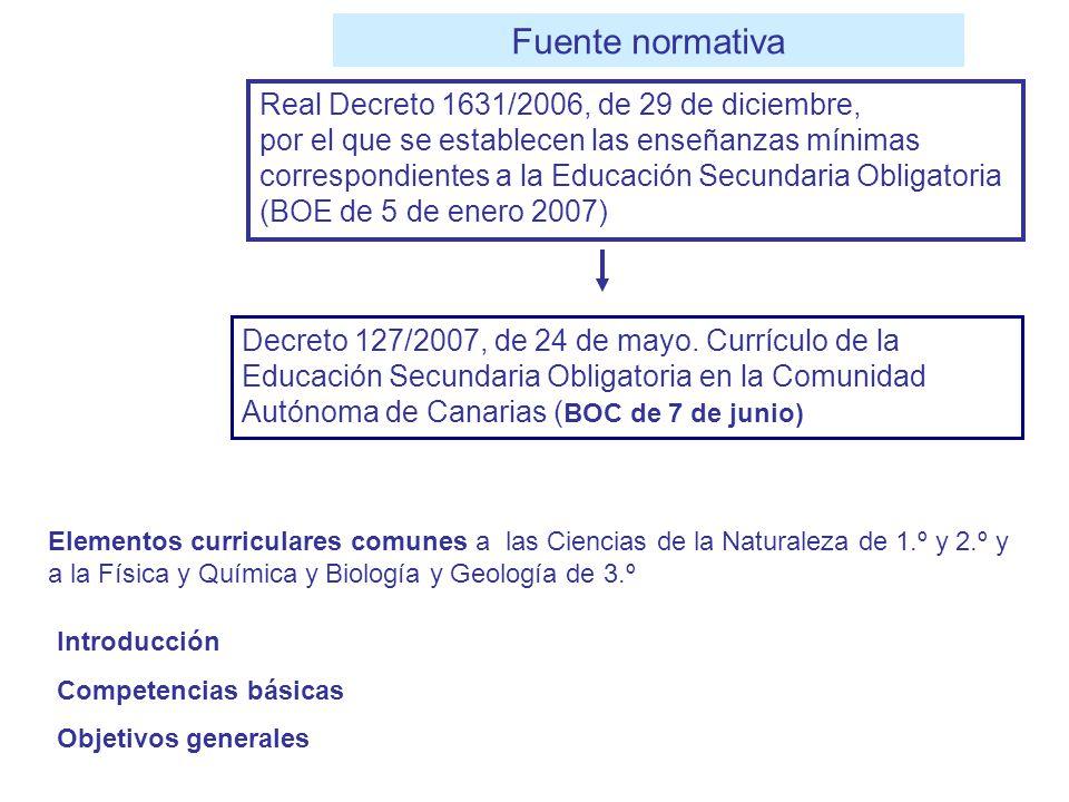 Decreto 127/2007, de 24 de mayo. Currículo de la Educación Secundaria Obligatoria en la Comunidad Autónoma de Canarias ( BOC de 7 de junio) Real Decre