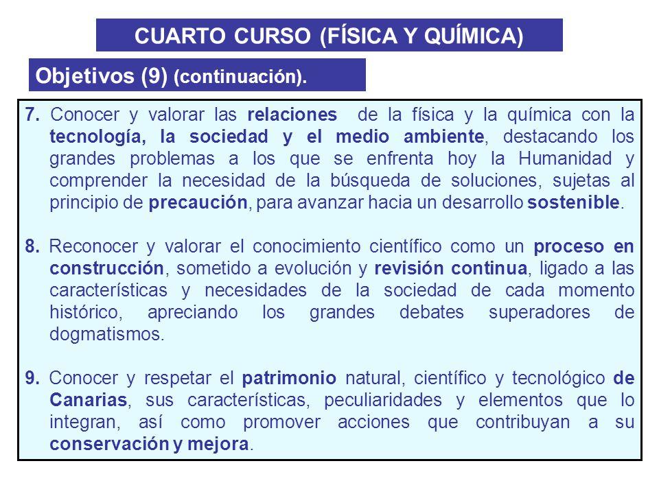 CUARTO CURSO (FÍSICA Y QUÍMICA) Objetivos (9) (continuación). 7. Conocer y valorar las relaciones de la física y la química con la tecnología, la soci