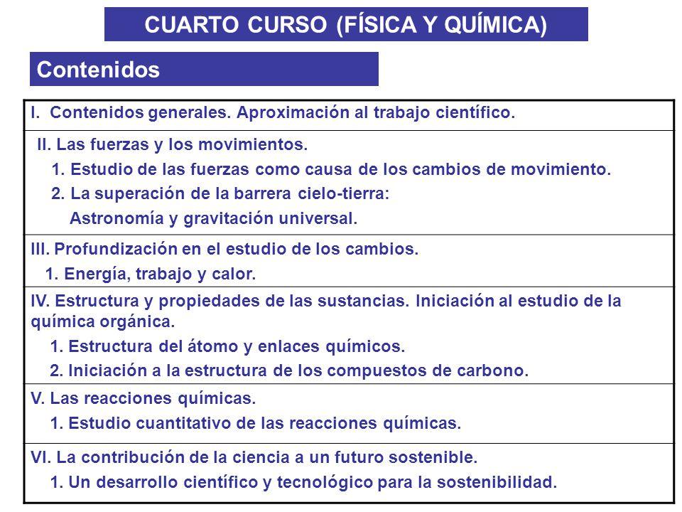 CUARTO CURSO (FÍSICA Y QUÍMICA) Contenidos I. Contenidos generales. Aproximación al trabajo científico. II. Las fuerzas y los movimientos. 1. Estudio