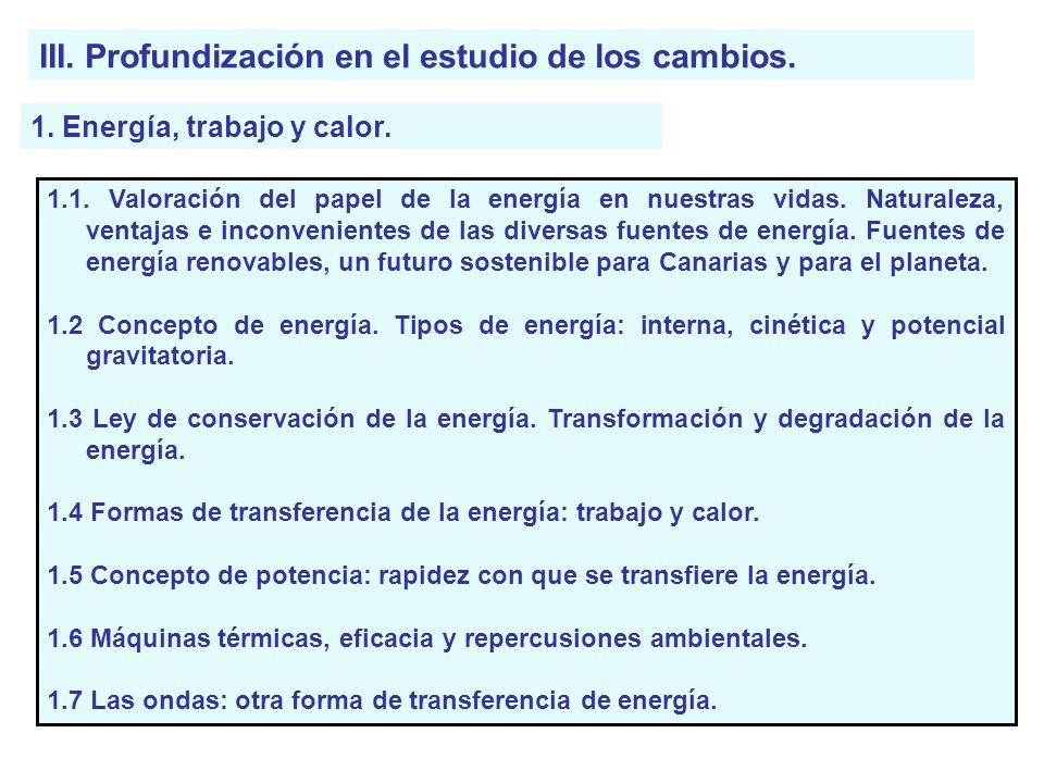 III. Profundización en el estudio de los cambios. 1. Energía, trabajo y calor. 1.1. Valoración del papel de la energía en nuestras vidas. Naturaleza,