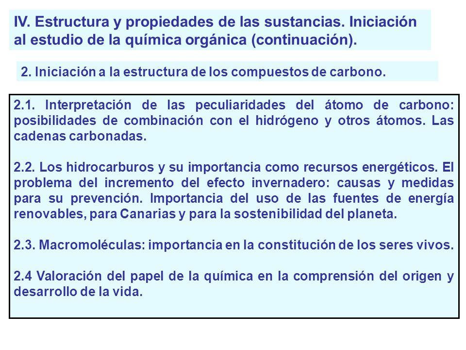 IV. Estructura y propiedades de las sustancias. Iniciación al estudio de la química orgánica (continuación). 2. Iniciación a la estructura de los comp