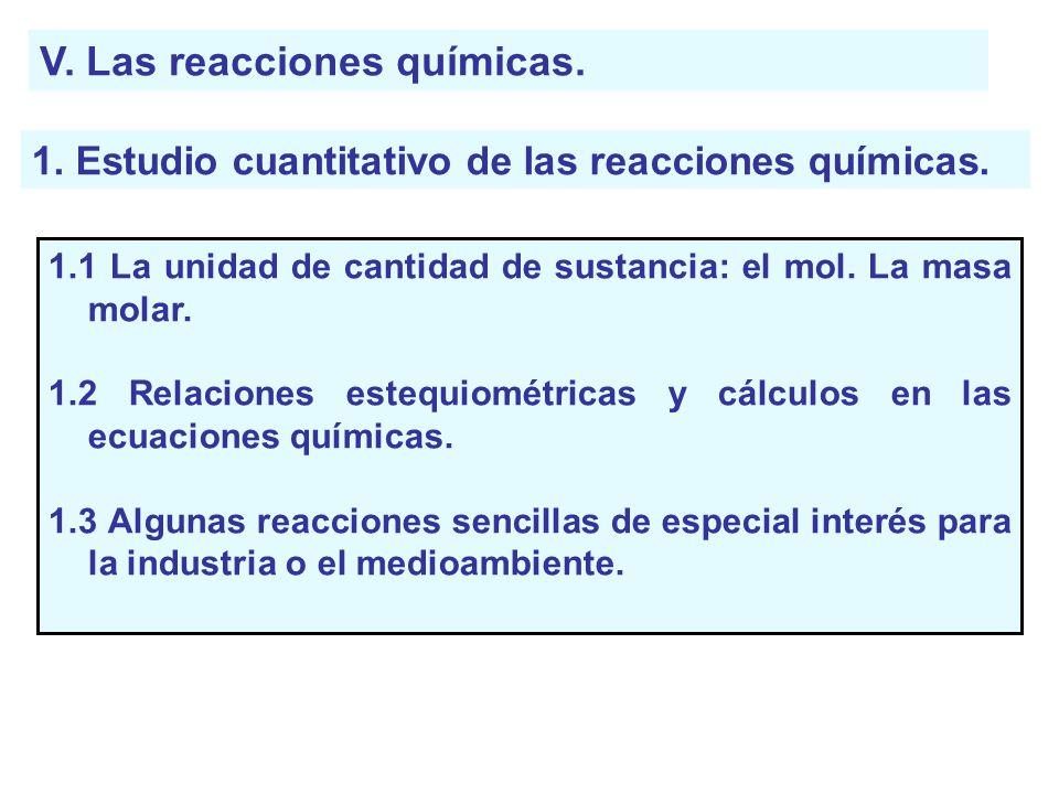 V. Las reacciones químicas. 1. Estudio cuantitativo de las reacciones químicas. 1.1 La unidad de cantidad de sustancia: el mol. La masa molar. 1.2 Rel