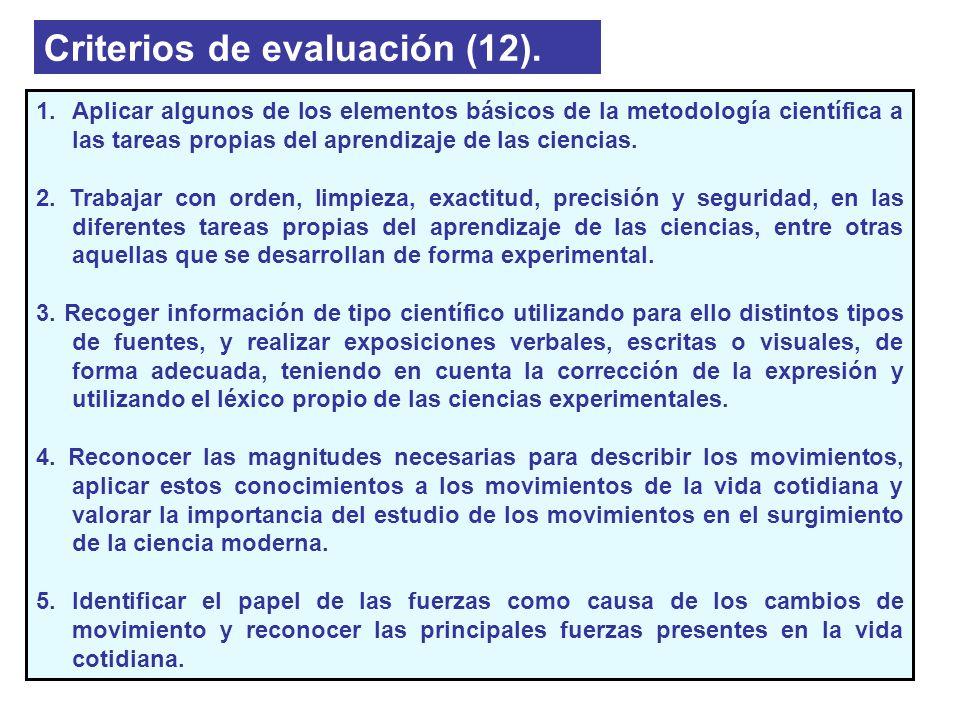 Criterios de evaluación (12). 1.Aplicar algunos de los elementos básicos de la metodología científica a las tareas propias del aprendizaje de las cien