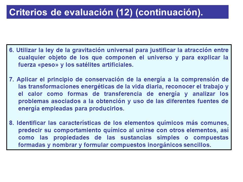 Criterios de evaluación (12) (continuación). 6. Utilizar la ley de la gravitación universal para justificar la atracción entre cualquier objeto de los