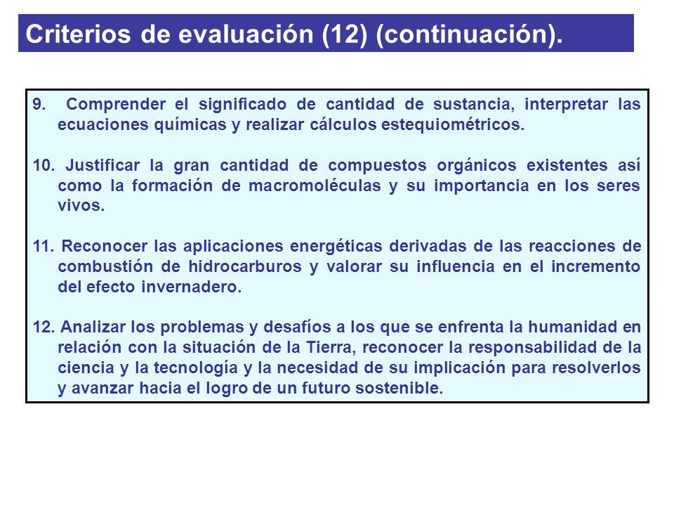 Criterios de evaluación (12) (continuación). 9. Comprender el significado de cantidad de sustancia, interpretar las ecuaciones químicas y realizar cál