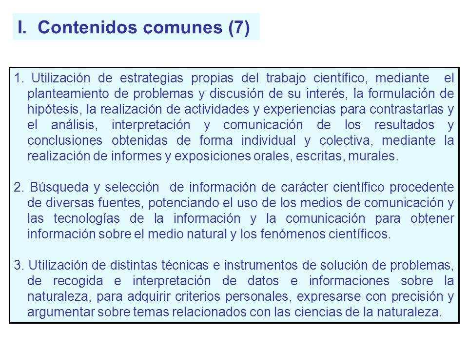 I. Contenidos comunes (7) 1. Utilización de estrategias propias del trabajo científico, mediante el planteamiento de problemas y discusión de su inter