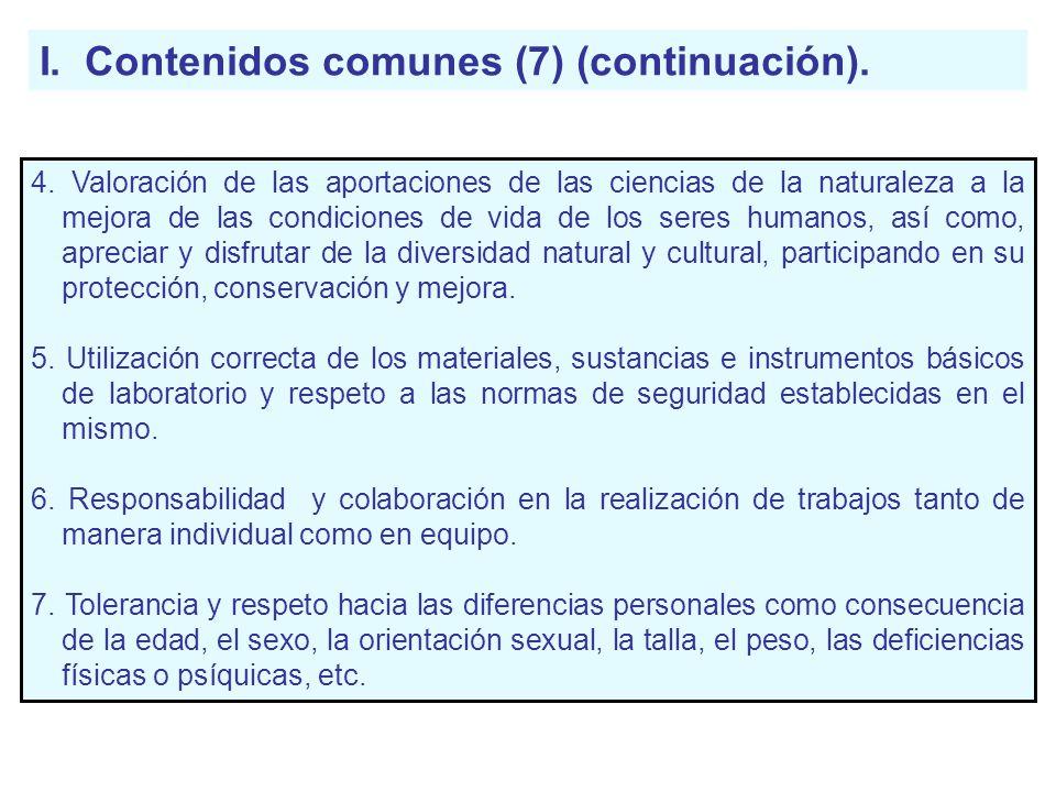I. Contenidos comunes (7) (continuación). 4. Valoración de las aportaciones de las ciencias de la naturaleza a la mejora de las condiciones de vida de