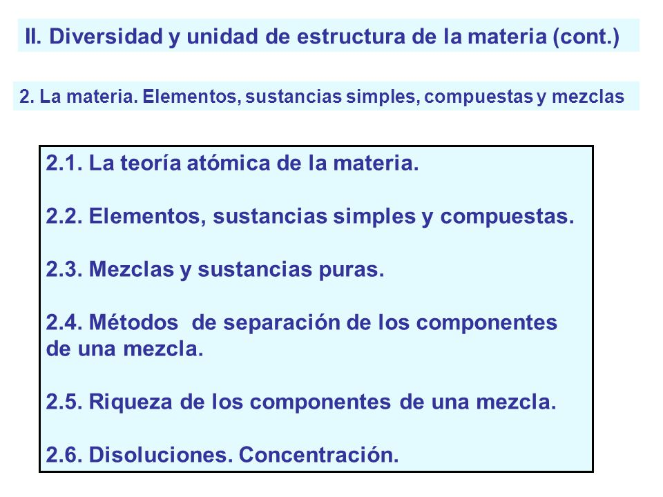 II. Diversidad y unidad de estructura de la materia (cont.) 2. La materia. Elementos, sustancias simples, compuestas y mezclas 2.1. La teoría atómica