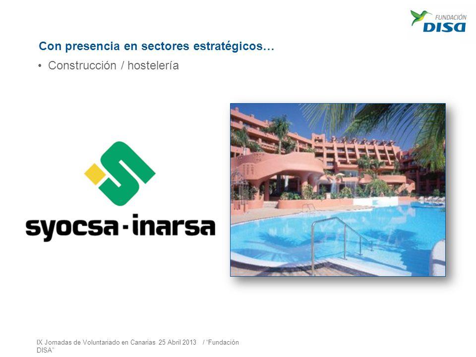 Con presencia en sectores estratégicos… Construcción / hostelería IX Jornadas de Voluntariado en Canarias 25 Abril 2013 / Fundación DISA