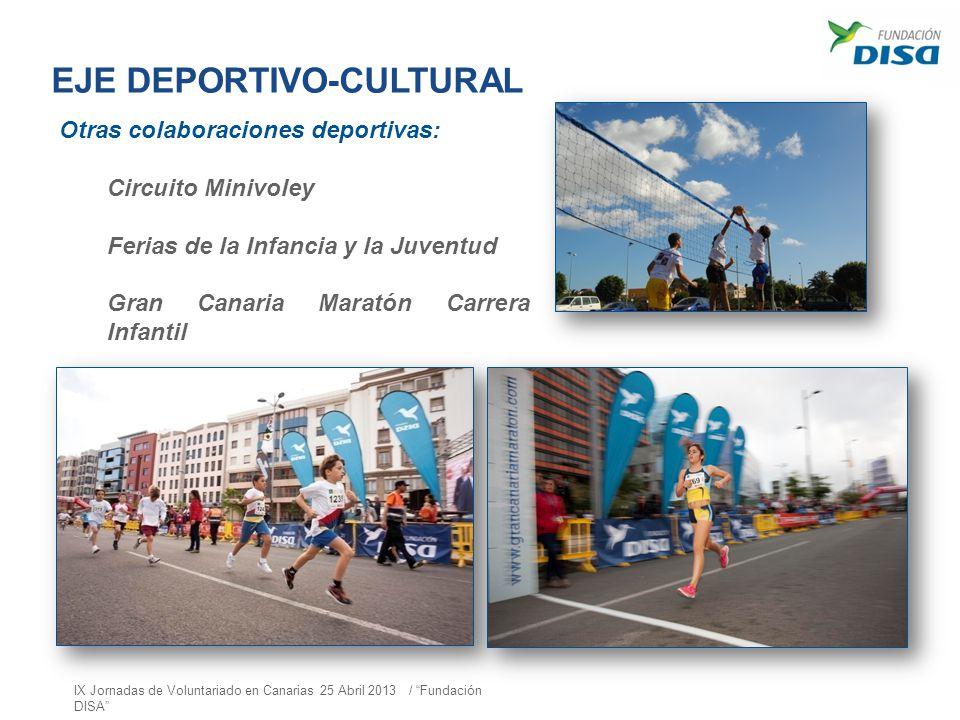 EJE DEPORTIVO-CULTURAL Otras colaboraciones deportivas: Circuito Minivoley Ferias de la Infancia y la Juventud Gran Canaria Maratón Carrera Infantil I