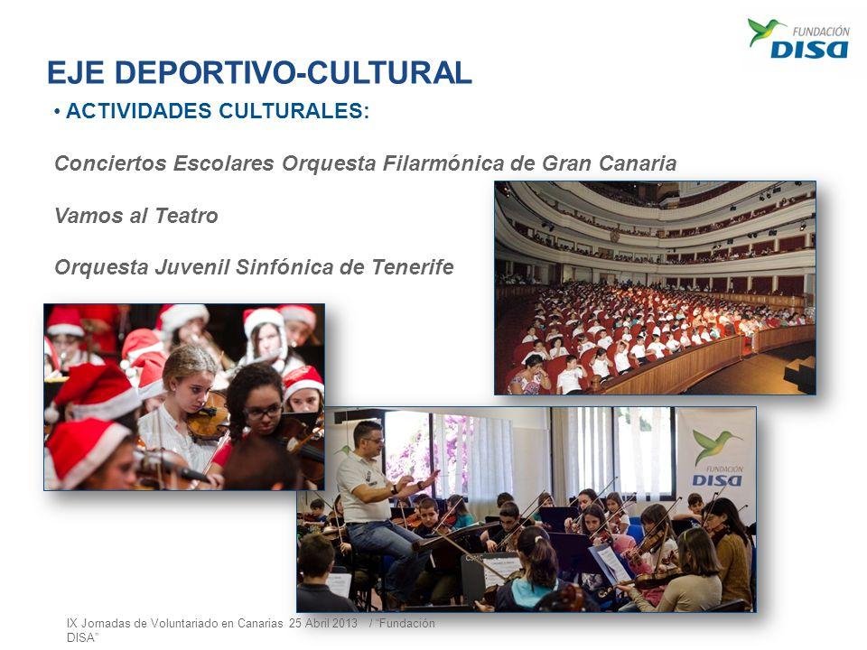 EJE DEPORTIVO-CULTURAL ACTIVIDADES CULTURALES: Conciertos Escolares Orquesta Filarmónica de Gran Canaria Vamos al Teatro Orquesta Juvenil Sinfónica de