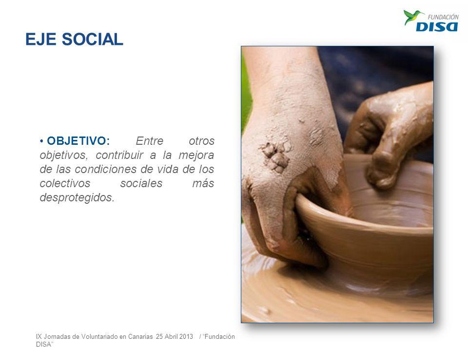 EJE SOCIAL OBJETIVO: Entre otros objetivos, contribuir a la mejora de las condiciones de vida de los colectivos sociales más desprotegidos. IX Jornada