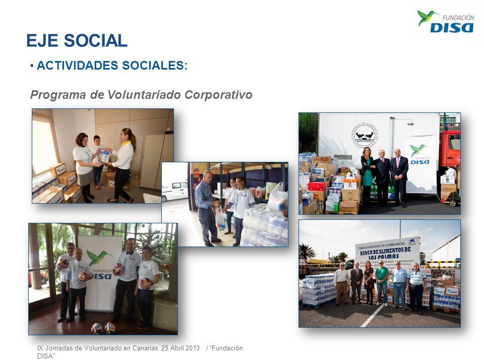 EJE SOCIAL ACTIVIDADES SOCIALES: Programa de Voluntariado Corporativo IX Jornadas de Voluntariado en Canarias 25 Abril 2013 / Fundación DISA