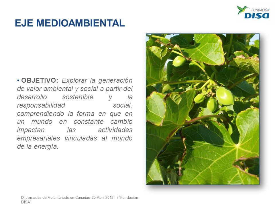 EJE MEDIOAMBIENTAL OBJETIVO: Explorar la generación de valor ambiental y social a partir del desarrollo sostenible y la responsabilidad social, compre