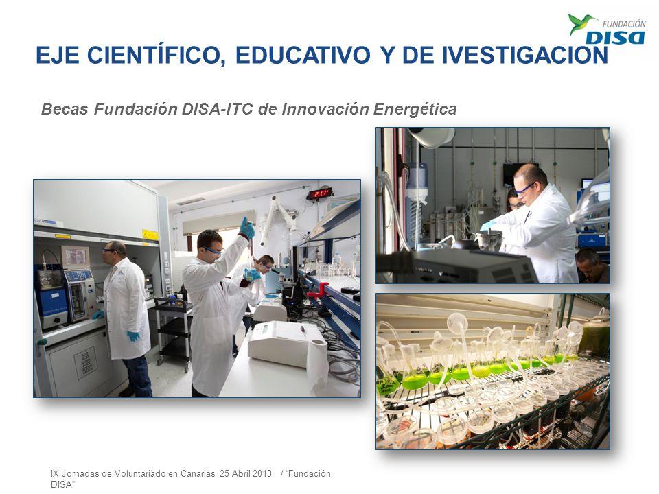 EJE CIENTÍFICO, EDUCATIVO Y DE IVESTIGACIÓN Becas Fundación DISA-ITC de Innovación Energética IX Jornadas de Voluntariado en Canarias 25 Abril 2013 /