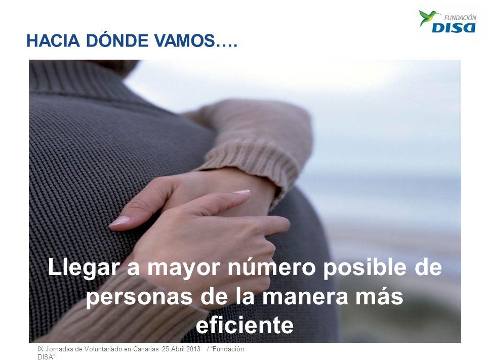 HACIA DÓNDE VAMOS…. Llegar a mayor número posible de personas de la manera más eficiente IX Jornadas de Voluntariado en Canarias 25 Abril 2013 / Funda