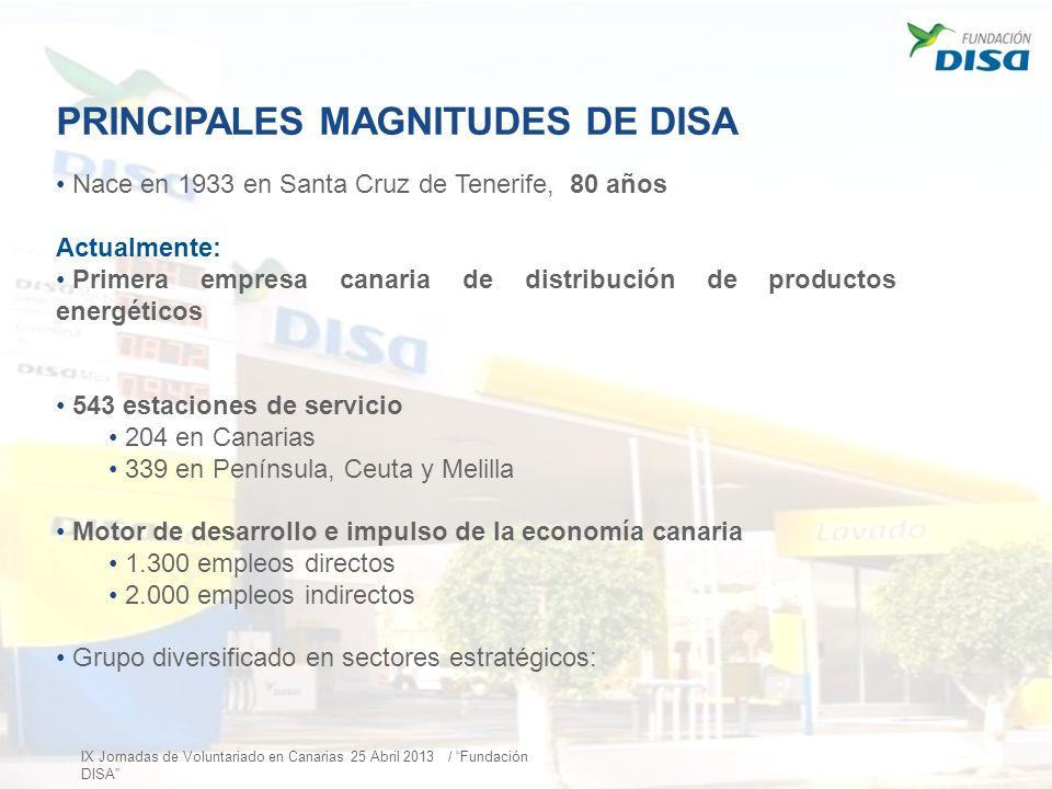PRINCIPALES MAGNITUDES DE DISA Nace en 1933 en Santa Cruz de Tenerife, 80 años Actualmente: Primera empresa canaria de distribución de productos energ