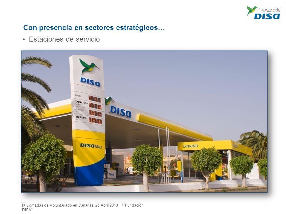 Con presencia en sectores estratégicos… Estaciones de servicio IX Jornadas de Voluntariado en Canarias 25 Abril 2013 / Fundación DISA