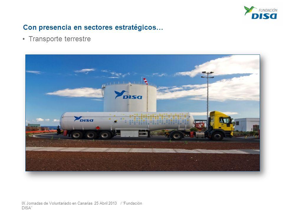 Con presencia en sectores estratégicos… Transporte terrestre IX Jornadas de Voluntariado en Canarias 25 Abril 2013 / Fundación DISA