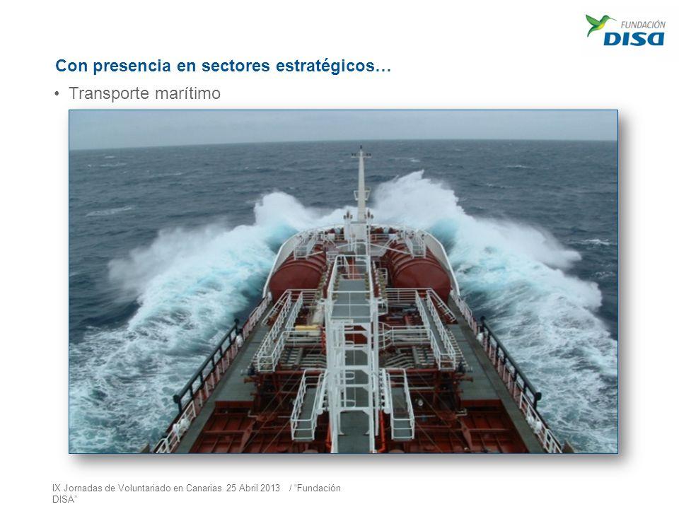 Con presencia en sectores estratégicos… Transporte marítimo IX Jornadas de Voluntariado en Canarias 25 Abril 2013 / Fundación DISA