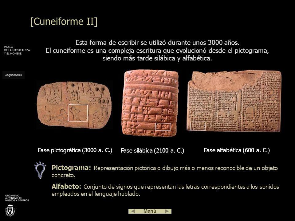 Para imprimir los signos del cuneiforme, los sumerios, sus creadores, utilizaban finas cañas que al apretarlas contra las tablillas de arcilla húmeda daban como resultado caracteres con forma de cuña.