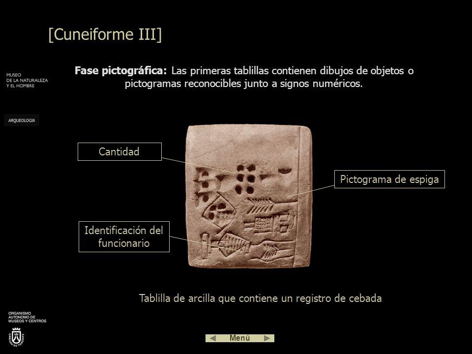 Esta forma de escribir se utilizó durante unos 3000 años. El cuneiforme es una compleja escritura que evolucionó desde el pictograma, siendo más tarde