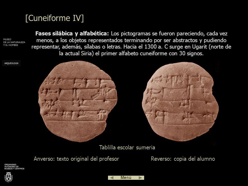 Fase pictográfica: Las primeras tablillas contienen dibujos de objetos o pictogramas reconocibles junto a signos numéricos. Tablilla de arcilla que co
